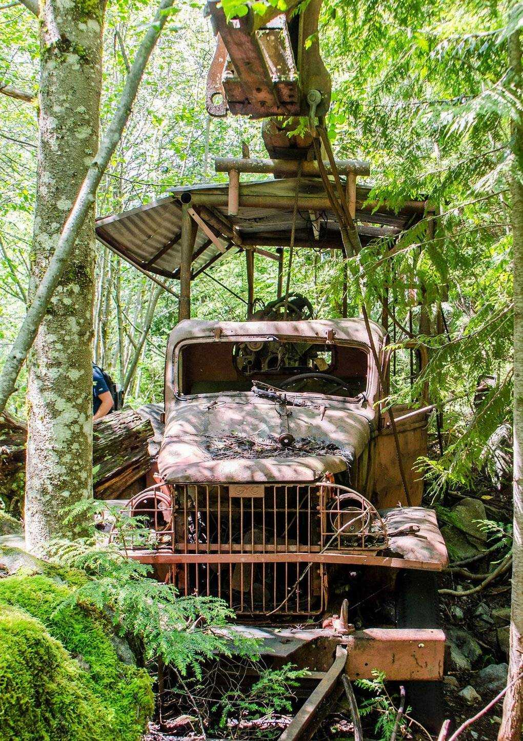 Dirty Harry's Peak is named after Harry Gault, who once ran a logging company in this mountainous region near the Snoqualmie Pass.  It takes some effort, but you can visit his old rusty truck.  (Nathan Barnes)